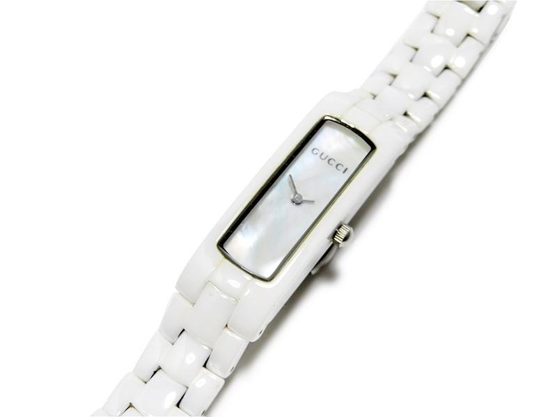 GUCCI CERAMIC グッチ セラミック クォーツ レディース 腕時計 8069L 2針 シェル文字盤 スイス製 FPZI41
