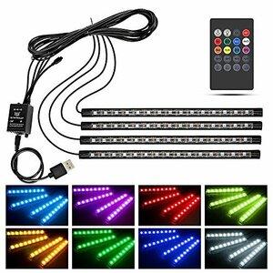 ブラック リモコン Wsiiroon 車 60LED RGB テープライト USB式 車内装飾用 音に反応 防水 全8色に切替