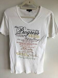 29M1124半袖Tシャツ【SOVESサベス】白系リブTシャツ英字ロゴ刺繍VネックL
