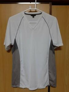 03M5477/ユニクロ/UNIQLO/ホワイト&グレー系/半袖Tシャツ/DRY系Tシャツ/メンズ/スポーツ/Vネック