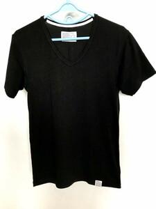 02M4359【Azul BY moussy】シンプル/黒系/Vネック/ストレッチ素材/Tシャツ/カットソー/半袖/L