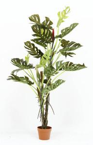 送料無料/フェイクグリーン 観葉植物 スプリット 鉢植え リビング 地下 オフィス 店舗 イミテーションインテリア 人工 造花 高さ140cm/新品