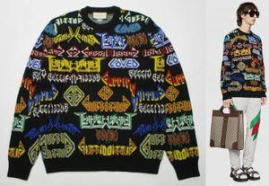 美品 国内正規品 GUCCI グッチ19SS ミケーレ 548945 XKAEN Metal Mix Wool Sweater メタル ロゴ 総柄 ニット セーター S ブラック JA