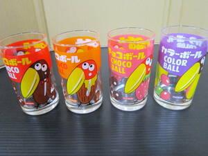 m000766 森永お菓子なタンブラー チョコボール(キョロちゃん)4種セット(カーラーボール・いちご・キャラメル・アーモンド) 未使用