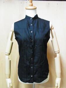 綺麗 正規品 BURBERRY LONDON バーバリーロンドン フリルデザイン ノースリーブシャツ 黒 サイズ40