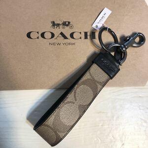 コーチ COACH ロゴ シグネチャー バッグチャーム プレゼント ギフト リング キーホルダー 誕生日 新品 ブランド レザー タン ブラック