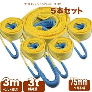 【高品質】スリング ベルト 運搬用スリング 3m 耐荷重3.0t 5本セット 荷揚げ 吊り上げ 吊り下げ 玉掛け ナイロンスリング グリーン
