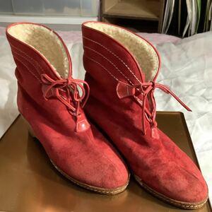 防寒ブーツ 23.5cm ショートブーツ 防寒ショートブーツ ブーツ 一定額超送料半額or1円  赤のスウェード 紐付 メーカー不明