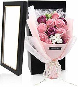 ピーチ ソープフラワー 花束 ギフト お花 誕生日 プレゼント 女性 人気 薔薇 母の日 敬老の日 記念日 開店祝い 造花 石