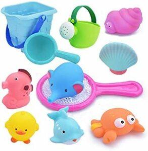 お風呂 おもちゃ Bacolos おふろ 水遊びおもちゃ シャワー プール おもちゃ 11点セット 噴水 音出す動物 漁網 ひし