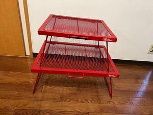 テントファクトリー TENT FACTORY スチールワークス FDテーブル スチールメッシュテーブル RED 赤 2つセット販売