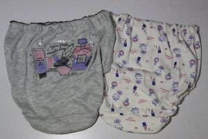 PA101 新品 おしゃれな猫とコスメ柄の女児用ショーツ グレー・白 2枚組 160サイズ