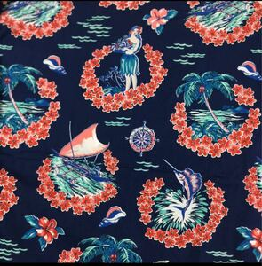 生地 ハギレ 布 花柄 50cm ハワイアン ハイビスカス レッド