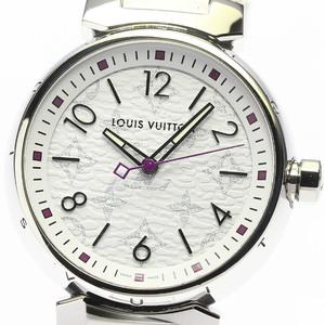 ☆美品【LOUIS VUITTON】ルイ・ヴィトン タンブール モノグラムホワイト QA116 クォーツ レディース