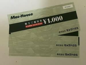 ◆◇【送料込有】マックハウス株主優待券3000円分+20%割引券◇◆