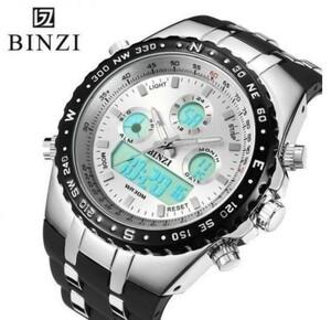 BINZI ブランド スポーツ 腕時計 クロノグラフ メンズ 防水 ファッション シリコン LED デジタル 男性 紳士 おしゃれ 高級