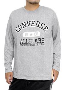 【新品】 4L グレー コンバース(CONVERSE) 長袖Tシャツ メンズ 大きいサイズ カレッジ ロゴ プリント クルーネック カットソー