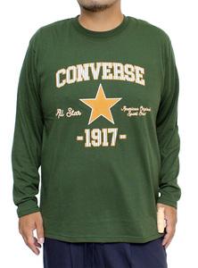【新品】 3L カーキ コンバース(CONVERSE) 長袖Tシャツ メンズ 大きいサイズ カレッジ ロゴ プリント クルーネック カットソー