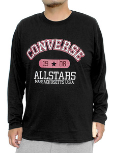 【新品】 3L ブラック コンバース(CONVERSE) 長袖Tシャツ メンズ 大きいサイズ カレッジ ロゴ プリント クルーネック カットソー