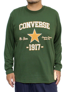 【新品】 5L カーキ コンバース(CONVERSE) 長袖Tシャツ メンズ 大きいサイズ カレッジ ロゴ プリント クルーネック カットソー