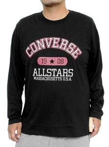 【新品】 2L ブラック コンバース(CONVERSE) 長袖Tシャツ メンズ 大きいサイズ カレッジ ロゴ プリント クルーネック カットソー