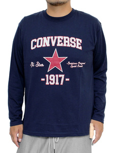 【新品】 4L ネイビー コンバース(CONVERSE) 長袖Tシャツ メンズ 大きいサイズ カレッジ ロゴ プリント クルーネック カットソー