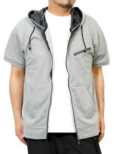 【新品】 L グレー 半袖 パーカー メンズ 大きいサイズ 半袖 長袖 カモフラ 迷彩 薄手 ジップアップ ゆったり ジップアップパーカー