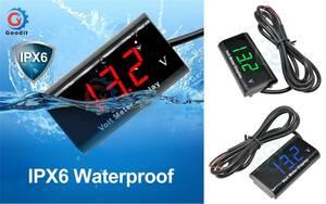 IPX6防水防塵 デジタル電圧計 12V 送料固定120円 ボルトメーター バッテリー電圧 測定 耐水(5)