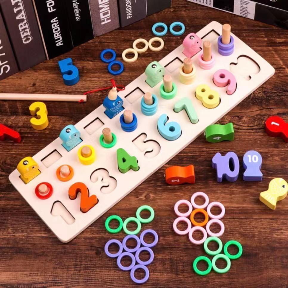 魚釣り 算数 モンテッソーリ 知育玩具 人気商品  木製 トレーニング 収納ケース付き