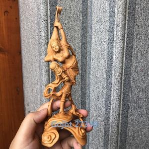 MD936仏教工芸品 総柘植材 極上品 一刀彫り 木彫仏像 琵琶飛天女 弁財天像