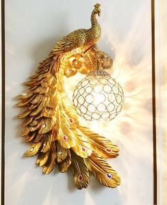 BD025イエロー/孔雀/鳥/動物/壁掛け照明 壁掛け灯 インテリア照明 壁掛け灯 高級照明