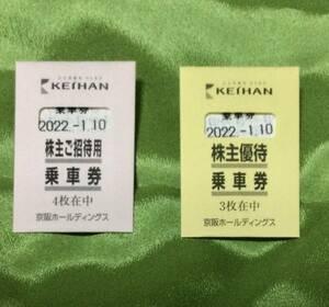 京阪電鉄 株主優待乗車券7枚 有効期限2022年1月10日