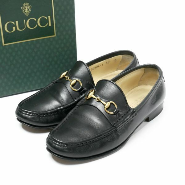 MD0752*イタリア製*GUCCI グッチ*37C(24cm相当)*ホースビットローファー*レザーシューズ/モカシン/スリッポン/革靴*ブラック*100 0255/1