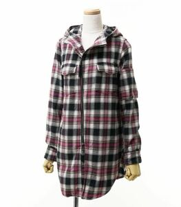 MD1991《ヒステリックグラマー/HYSTERIC GLAMOUR》ネルシャツ ヒップアップ パーカー ピンク チェック ヒスガール フリーサイズ