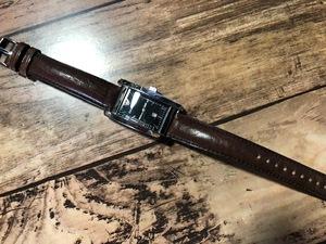 程度良好 EMPORIO ARMANI エンポリオアルマーニ AR-0121 デイト シルバー×ブラック ブラウン革ベルト クオーツ ボーイズ 腕時計