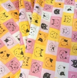猫柄 ダブルガーゼ 生地 布 ネコ 110×150センチ