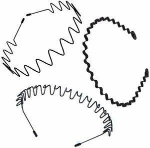 メンズ カチューシャ スポーツ レディース 3本セット 鉄 波型 滑り止め オシャレ ヘアバンド 黒 シンプル ヘアアクセサリー 髪留め 4JW F