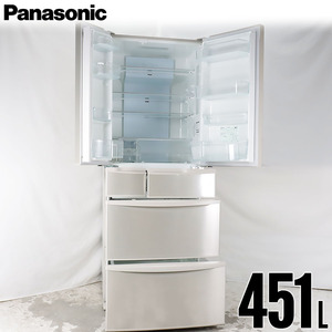 中古/屋内搬入付 冷蔵庫 6ドア 451L ファン式 エコナビ 美品 30日保証 Panasonic NR-FTF457-N 観音