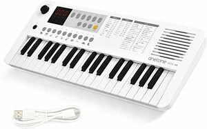WH(ホワイト) ONETONE ワントーン 電子キーボード ミニ37鍵盤 LEDディスプレイ搭載 USB-MIDI対応 日本語