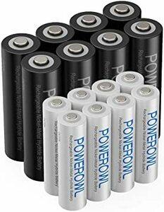 単3単4形16個 Powerowl単4単3形充電式ニッケル水素電池16個パック PSE安全認証 自然放電抑制 環境保護(1000