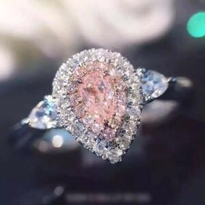 @ブランドに負けず*新着*新品1円スタート* 超大粒ピンクハート型ダイヤモンドリング #3ct#プラチナ仕上#豪華