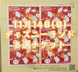 11/14(日) ディズニーランド 9時入園 当選チケットTDL 1デーパスポート 株主優待 送料無料