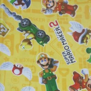 マリオ スーパーマリオブラザース 任天堂 生地 スーパーマリオメーカー2 黄色 ハギレ オックス生地 入園入学