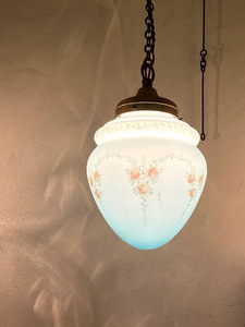フランスアンティーク ブルーガラスのランプシェードセット ハンドペイント ピン式 照明 天井照明 店舗什器 コード長さ調整済み