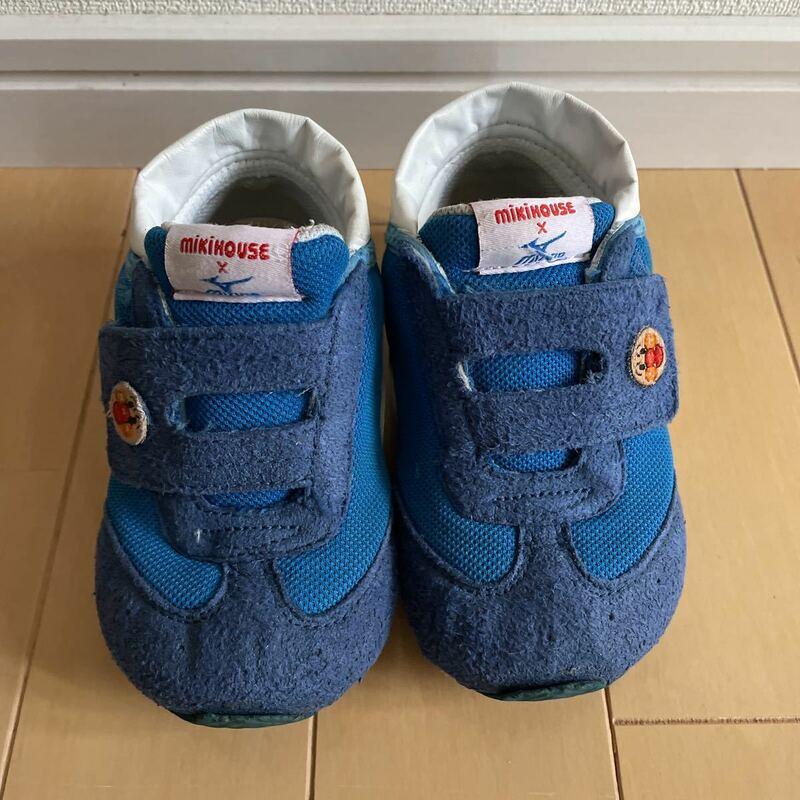 送料無料 ミキハウス×ミズノ miki house×mizuno スニーカー シューズ 靴 14.5cm 青色 アンパンマン 送料込み