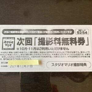 送料無料 24時間以内即発送 匿名配送 スタジオマリオ 次回撮影料無料券 12月のみ使用可能 カメラのキタムラ 記念写真 送料込み