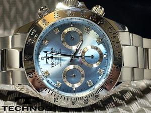 【1円新品正規品】[テクノス]TECHNOSクロノグラフ水色ブルー×シルバー金メンズダイヤモンドcz男性用ダイバー腕時計ギフトとけいプレゼント