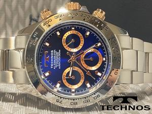 【1円】【新品正規品】[テクノス]TECHNOSクロノグラフ青ブルー×ゴールド金メンズ男性用ダイバー腕時計ギフトうでどけいプレゼント