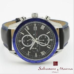 最新作新品正規品サルバトーレマーラSalvatore Marra10気圧100m防水ダイバークロノグラフ男性レザー革紳士腕時計ビジネスカジュアル青