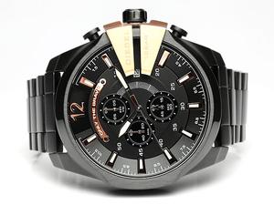 【1円】【新品 正規品】【DIESEL/ディーゼル】腕時計メンズクロノグラフブラック×ゴールドメタルベルト多針アナログ表示MEN'Sうでどけい